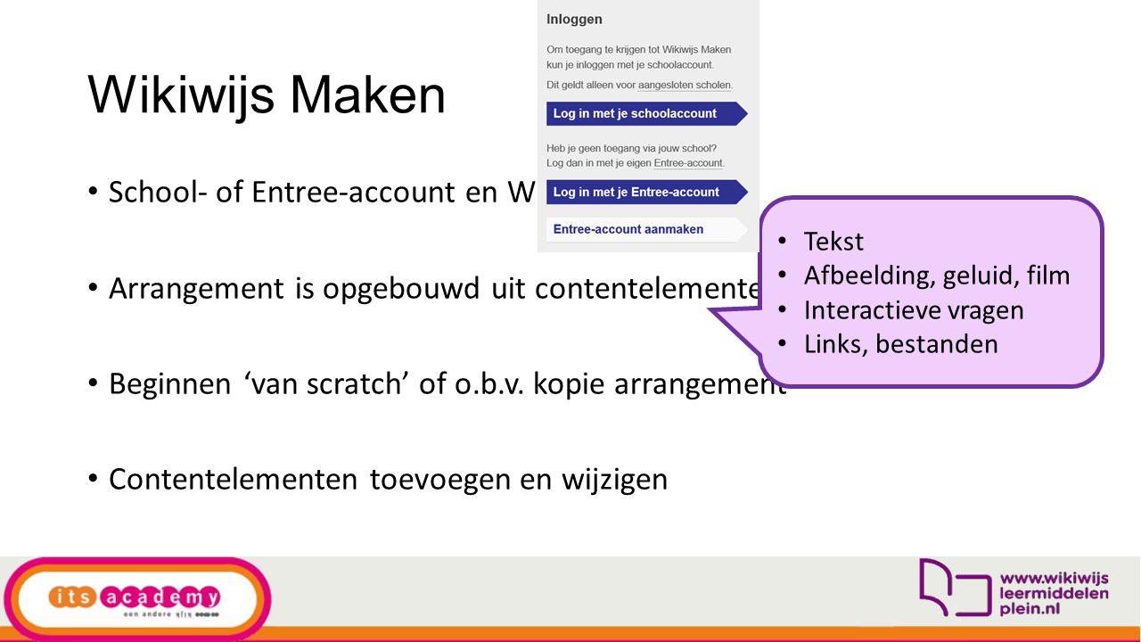 Wikiwijs Maken School- of Entree-account en Wikiwijs profiel Arrangement is opgebouwd uit contentelementen Beginnen 'van scratch' of o.b.v. kopie arra