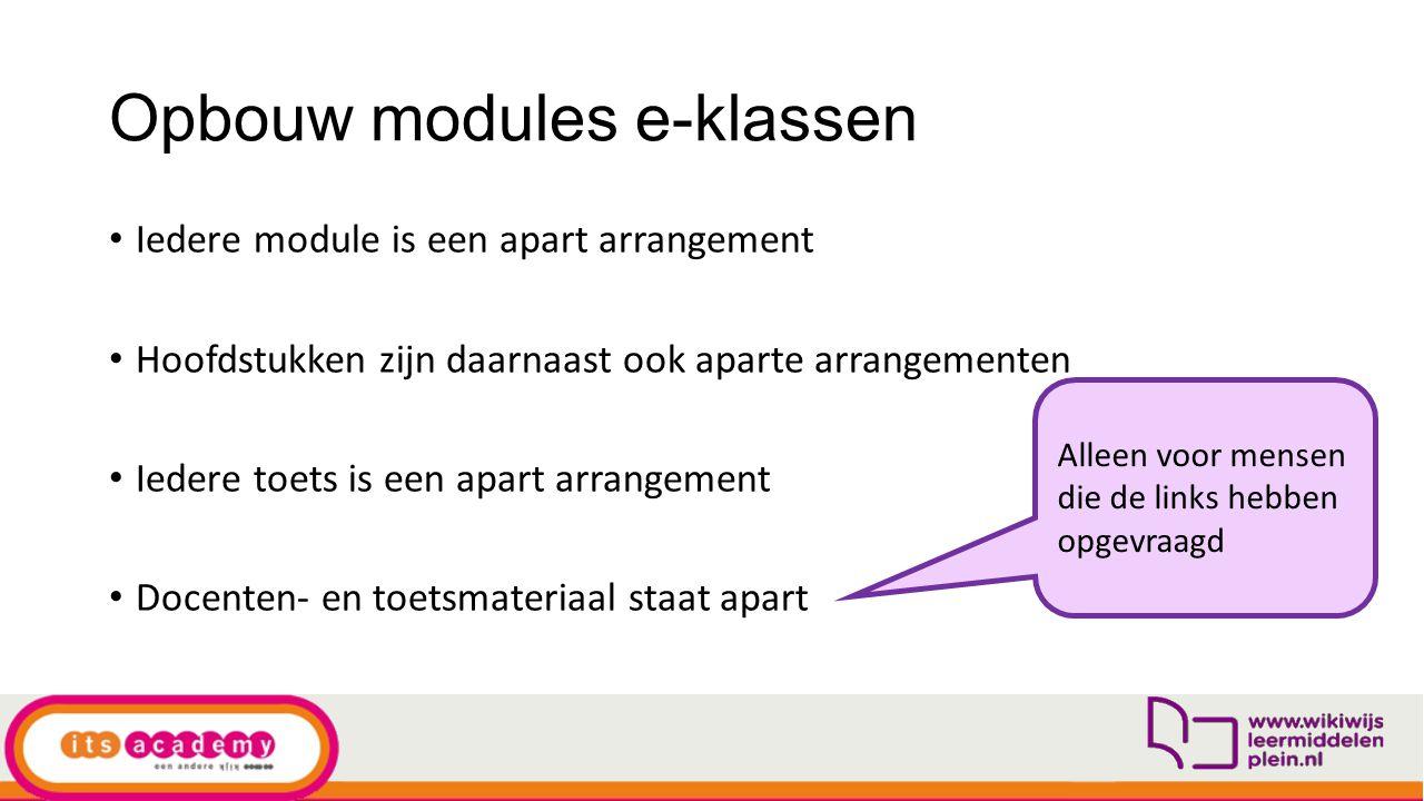 Opbouw modules e-klassen Iedere module is een apart arrangement Hoofdstukken zijn daarnaast ook aparte arrangementen Iedere toets is een apart arrange