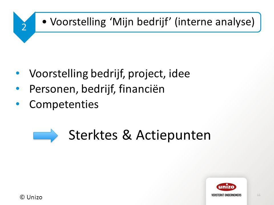 11 © Unizo 2 Voorstelling 'Mijn bedrijf' (interne analyse) Voorstelling bedrijf, project, idee Personen, bedrijf, financiën Competenties Sterktes & Ac