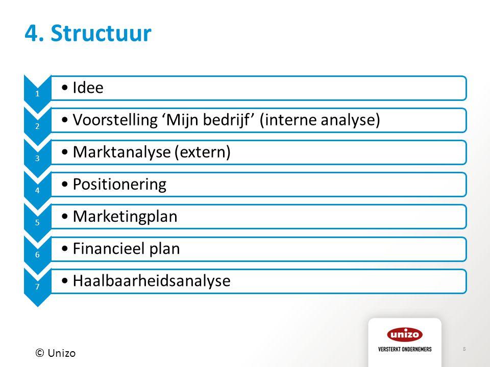 8 4. Structuur © Unizo 1 Idee 2 Voorstelling 'Mijn bedrijf' (interne analyse) 3 Marktanalyse (extern) 4 Positionering 5 Marketingplan 6 Financieel pla