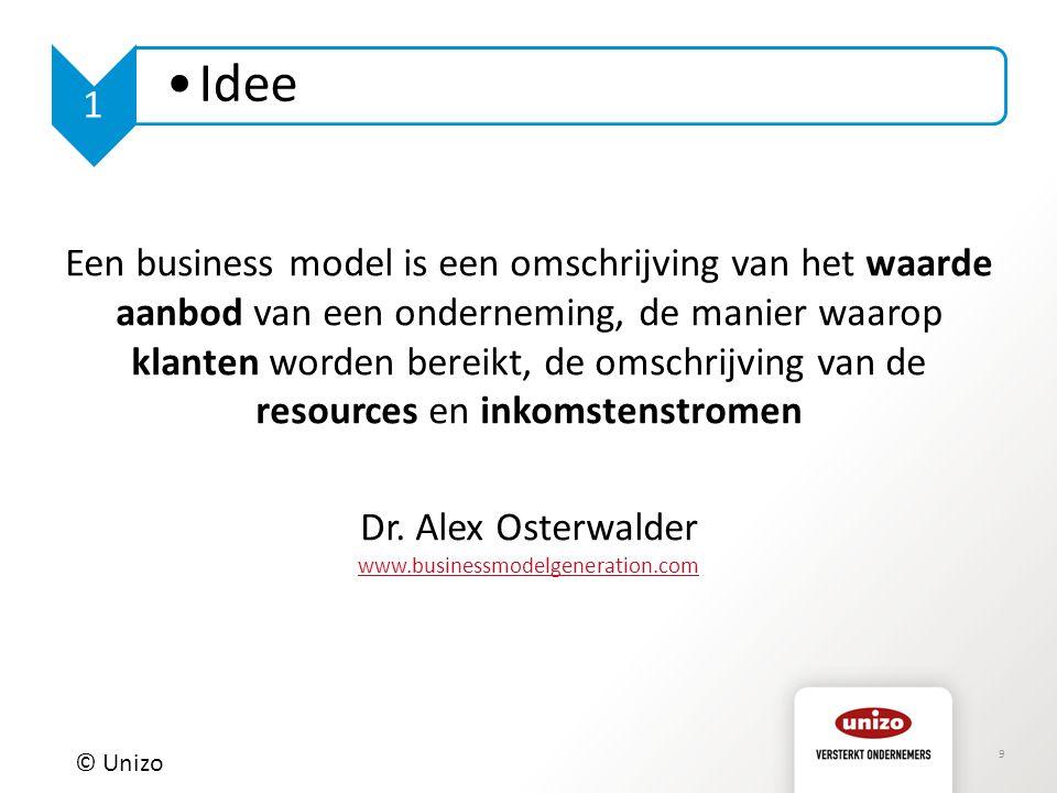 9 © Unizo 1 Idee Een business model is een omschrijving van het waarde aanbod van een onderneming, de manier waarop klanten worden bereikt, de omschrijving van de resources en inkomstenstromen Dr.
