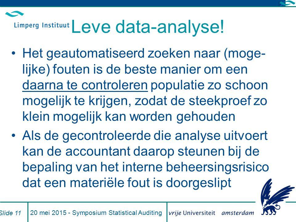 Leve data-analyse! Het geautomatiseerd zoeken naar (moge- lijke) fouten is de beste manier om een daarna te controleren populatie zo schoon mogelijk t