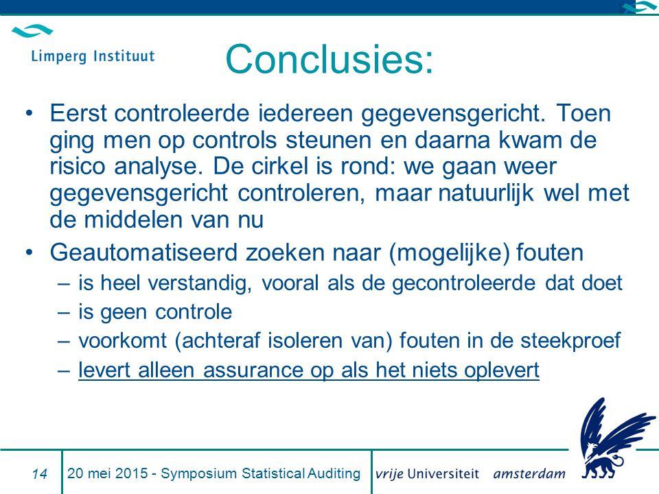 Conclusies: Eerst controleerde iedereen gegevensgericht. Toen ging men op controls steunen en daarna kwam de risico analyse. De cirkel is rond: we gaa