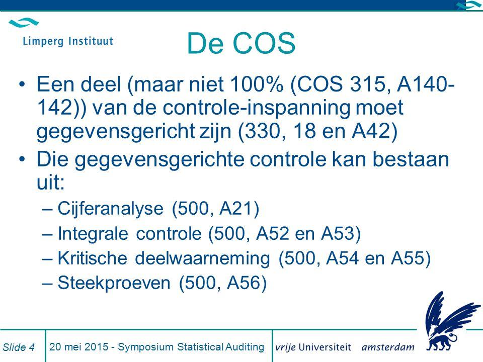 Cijferanalyse (520) Toetsen van gegevens aan een norm Bij een steekproef pak je een transactie en stel je daar de soll positie voor vast Bij cijferanalyse kijk je naar een verzameling transacties nadat je daarvoor de soll positie hebt bepaald Cijferanalyse is dus iets anders dan het zoeken naar fouten 20 mei 2015 - Symposium Statistical Auditing Slide 5