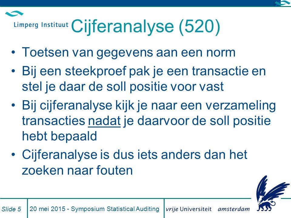 Cijferanalyse (520) Toetsen van gegevens aan een norm Bij een steekproef pak je een transactie en stel je daar de soll positie voor vast Bij cijferana