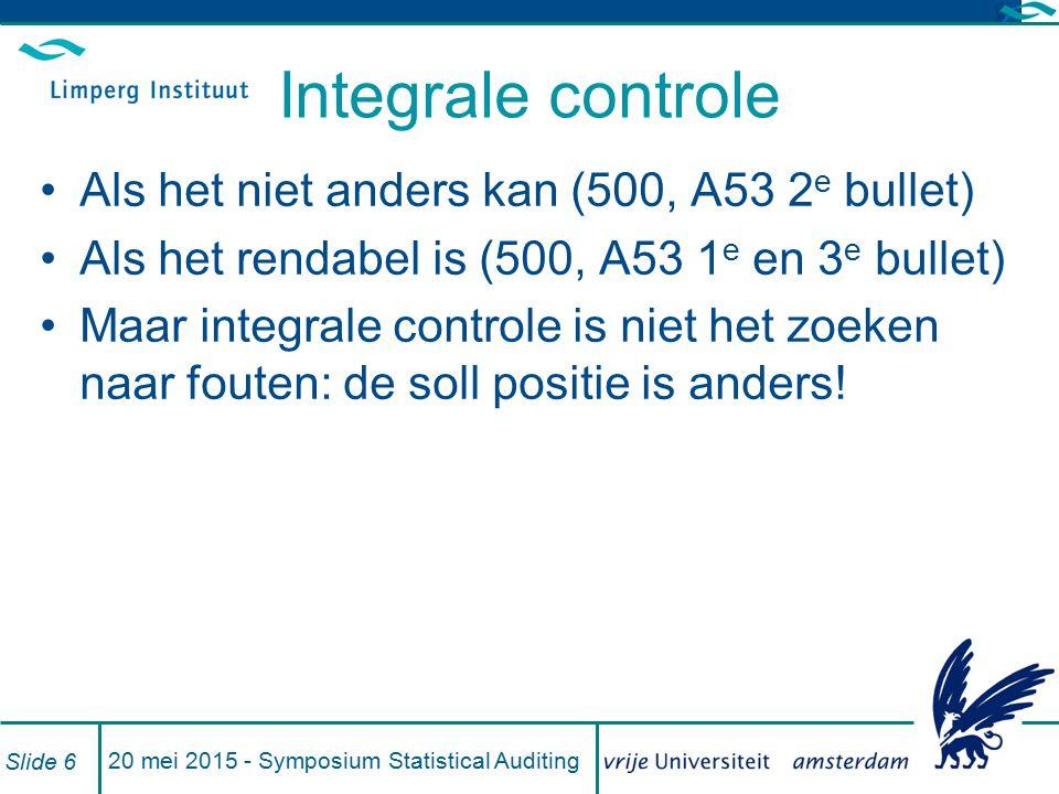 Integrale controle Als het niet anders kan (500, A53 2 e bullet) Als het rendabel is (500, A53 1 e en 3 e bullet) Maar integrale controle is niet het