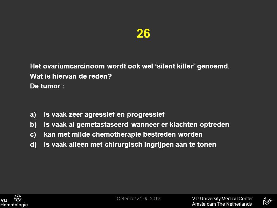 VU University Medical Center Amsterdam The Netherlands 26 Het ovariumcarcinoom wordt ook wel 'silent killer' genoemd. Wat is hiervan de reden? De tumo