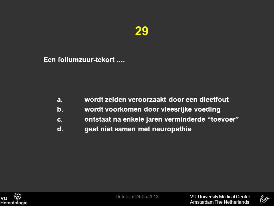 VU University Medical Center Amsterdam The Netherlands 29 Een foliumzuur-tekort …. a.wordt zelden veroorzaakt door een dieetfout b.wordt voorkomen doo