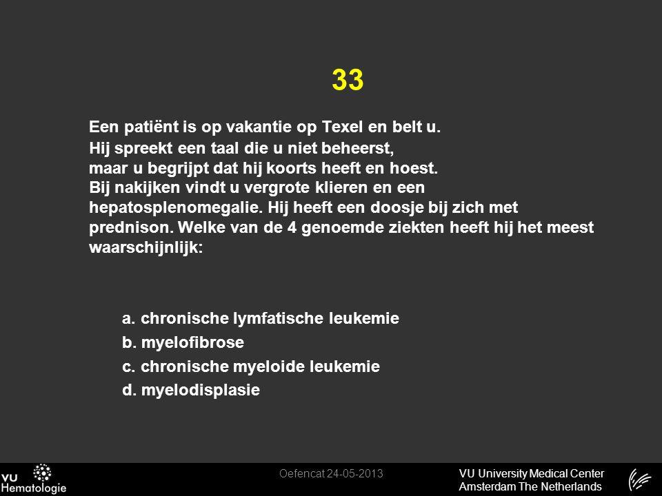 VU University Medical Center Amsterdam The Netherlands 33 Een patiënt is op vakantie op Texel en belt u. Hij spreekt een taal die u niet beheerst, maa