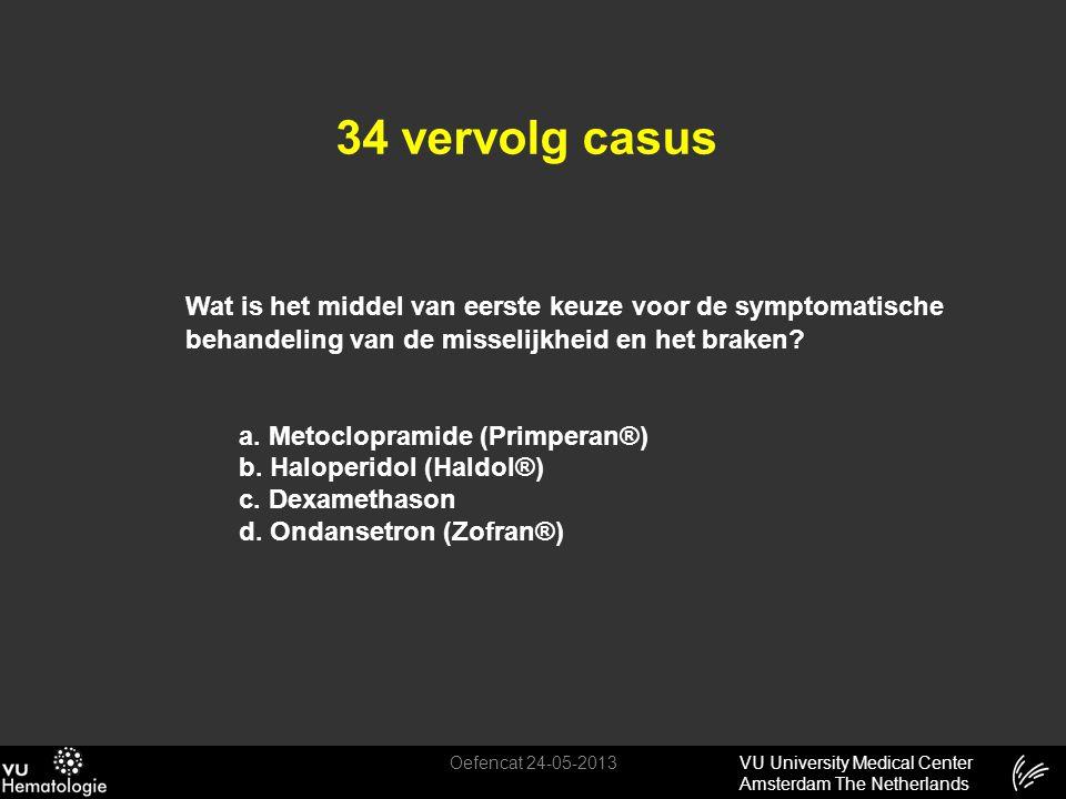 VU University Medical Center Amsterdam The Netherlands 34 vervolg casus Oefencat 24-05-2013 Wat is het middel van eerste keuze voor de symptomatische