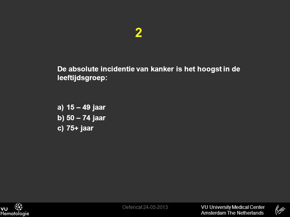 VU University Medical Center Amsterdam The Netherlands 2 De absolute incidentie van kanker is het hoogst in de leeftijdsgroep: a)15 – 49 jaar b)50 – 7