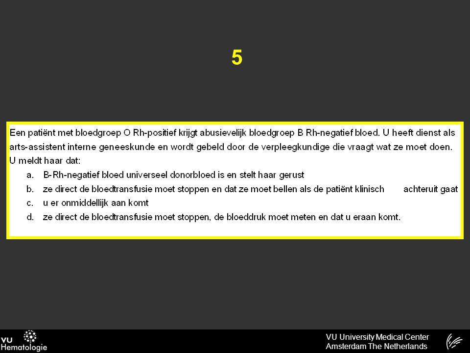VU University Medical Center Amsterdam The Netherlands 31 Bij een gezonde man van 46 jaar wordt bij een keuring een normocytaire anemie met een Hb van 6.8 mmol/L gevonden.
