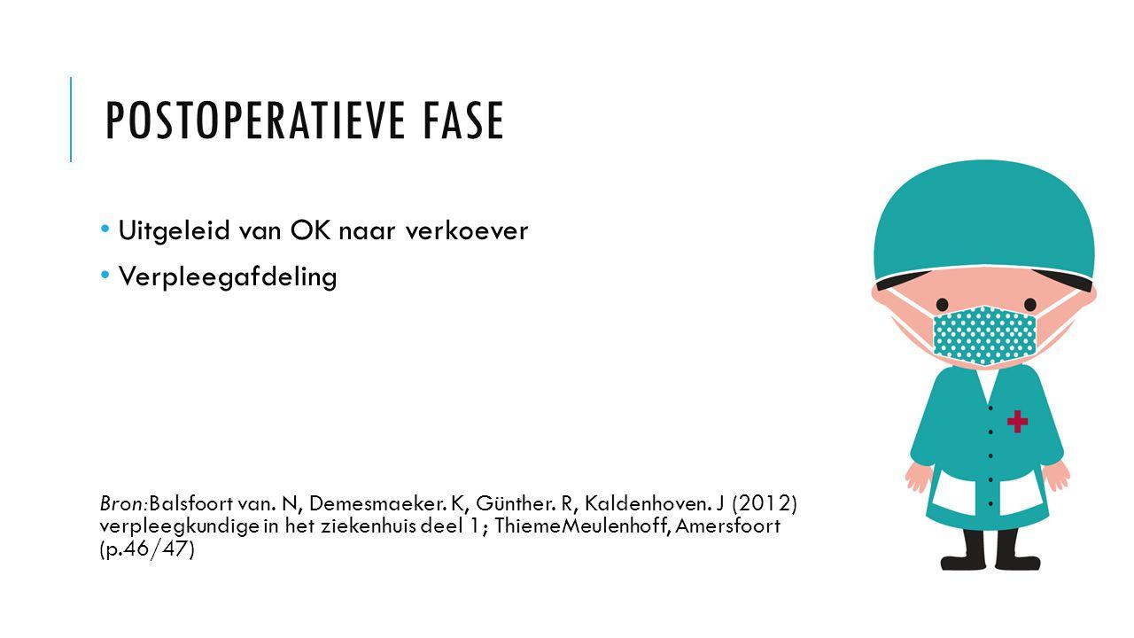 POSTOPERATIEVE FASE Uitgeleid van OK naar verkoever Verpleegafdeling Bron:Balsfoort van. N, Demesmaeker. K, Günther. R, Kaldenhoven. J (2012) verpleeg