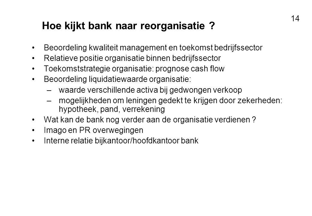 Voor resultaten met mensen 14 Hoe kijkt bank naar reorganisatie ? Beoordeling kwaliteit management en toekomst bedrijfssector Relatieve positie organi