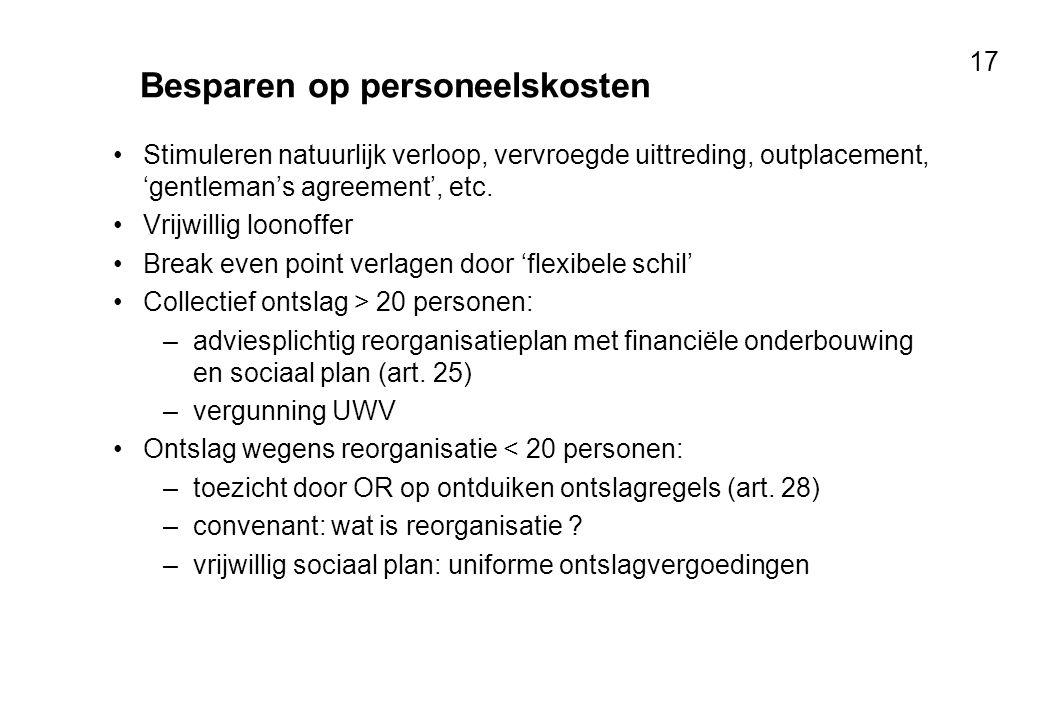 Voor resultaten met mensen 17 Besparen op personeelskosten Stimuleren natuurlijk verloop, vervroegde uittreding, outplacement, 'gentleman's agreement'