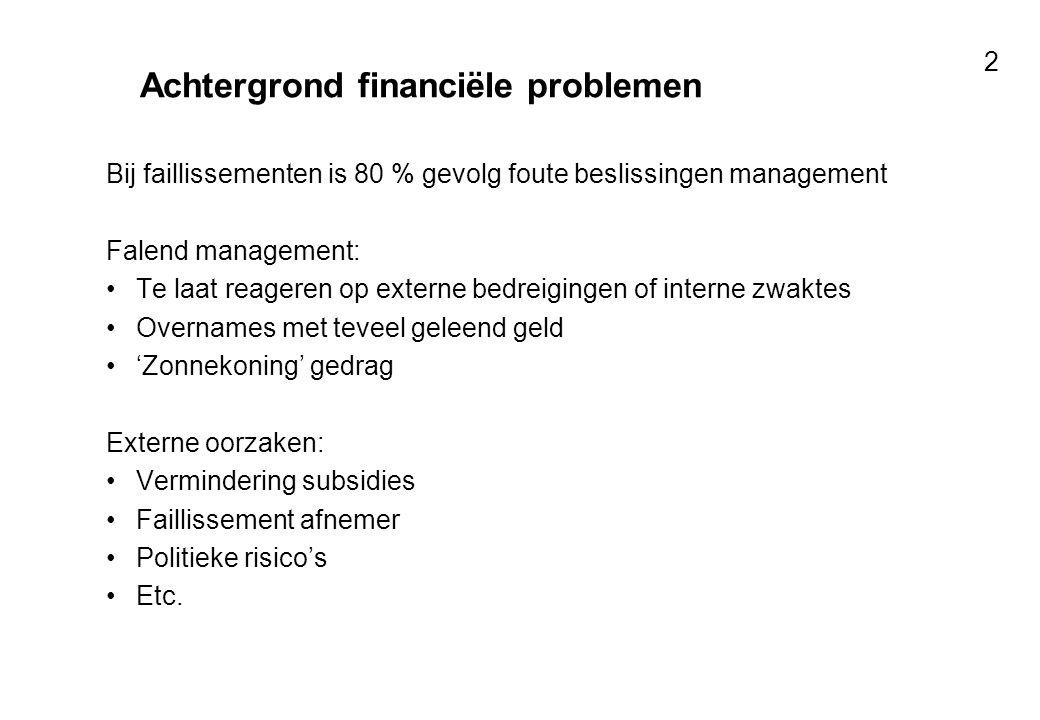 Voor resultaten met mensen 2 Achtergrond financiële problemen Bij faillissementen is 80 % gevolg foute beslissingen management Falend management: Te l