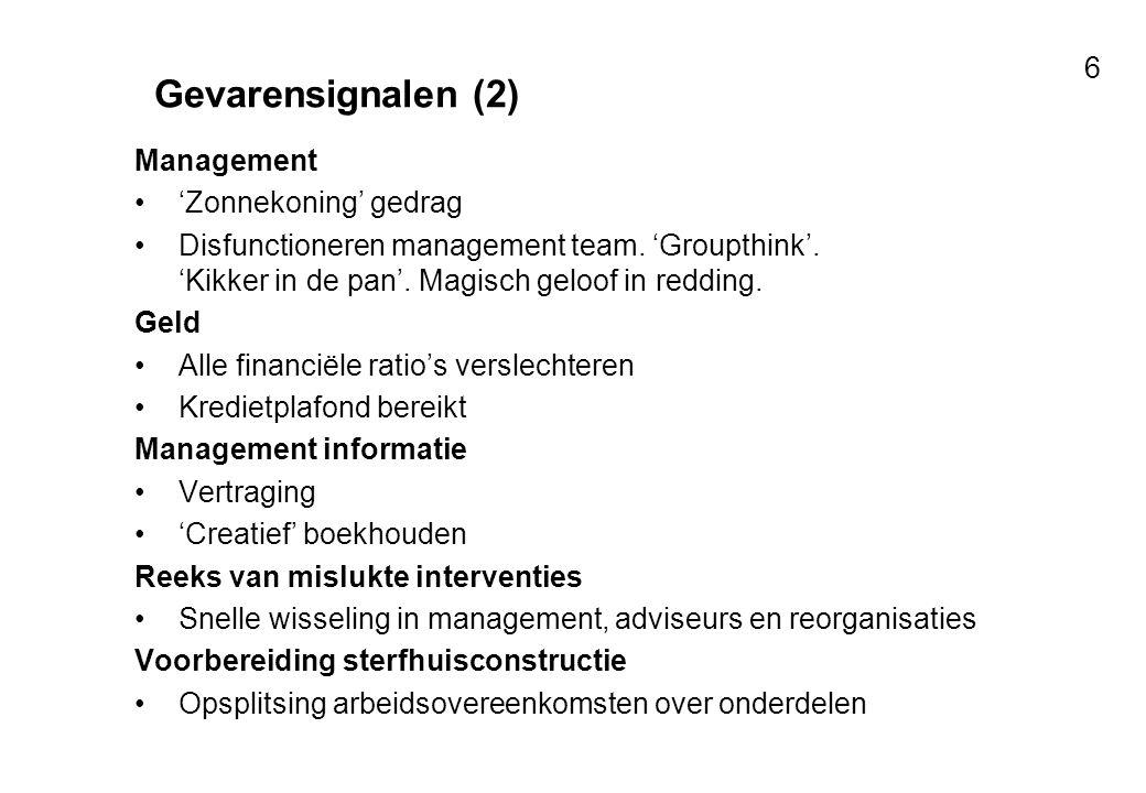 Voor resultaten met mensen 6 Gevarensignalen (2) Management 'Zonnekoning' gedrag Disfunctioneren management team. 'Groupthink'. 'Kikker in de pan'. Ma