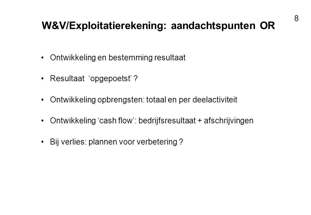 Voor resultaten met mensen 8 W&V/Exploitatierekening: aandachtspunten OR Ontwikkeling en bestemming resultaat Resultaat 'opgepoetst' ? Ontwikkeling op