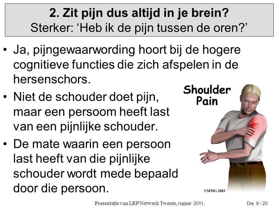 Pijn is een complex fenomeen waar veel delen van het brein invloed op hebben.