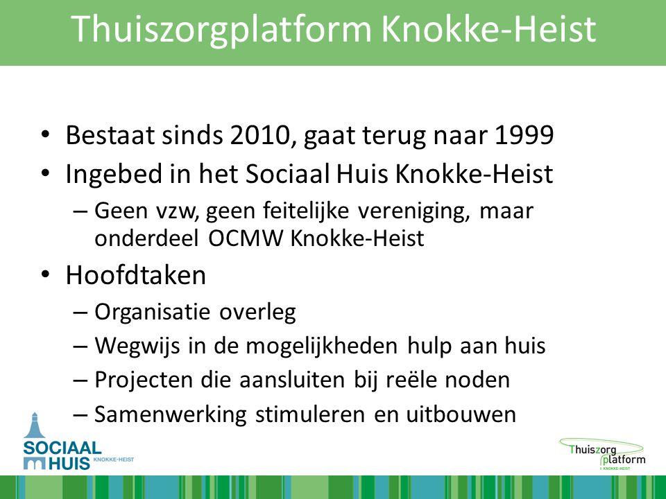 Thuiszorgplatform Knokke-Heist Bestaat sinds 2010, gaat terug naar 1999 Ingebed in het Sociaal Huis Knokke-Heist – Geen vzw, geen feitelijke verenigin