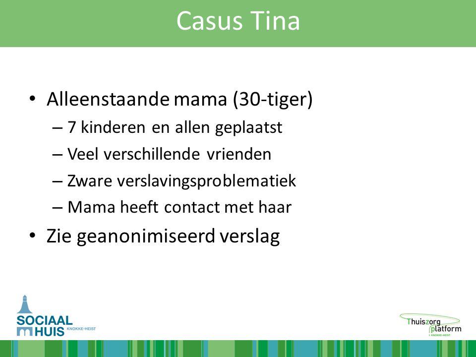 Casus Tina Alleenstaande mama (30-tiger) – 7 kinderen en allen geplaatst – Veel verschillende vrienden – Zware verslavingsproblematiek – Mama heeft co