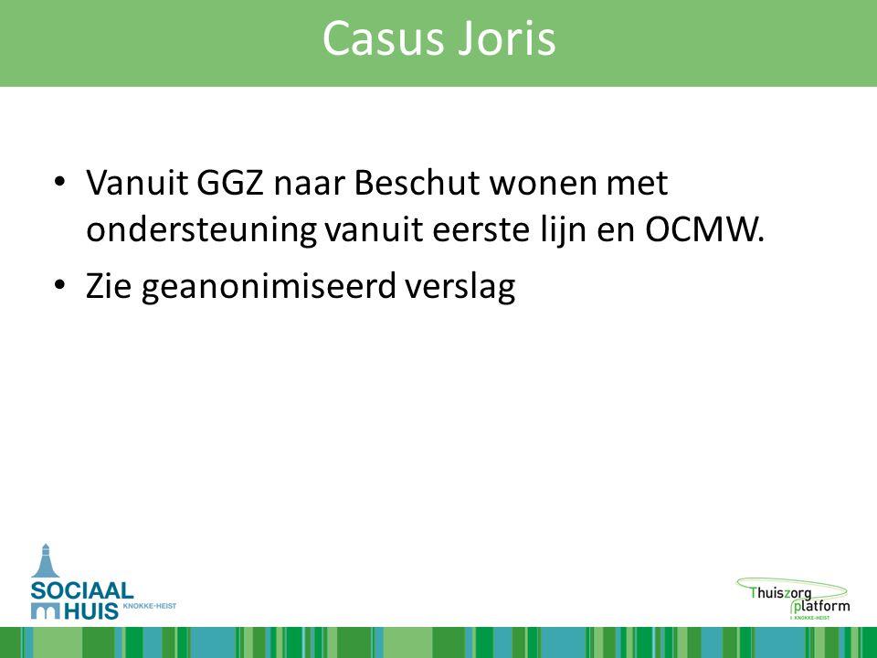 Casus Joris Vanuit GGZ naar Beschut wonen met ondersteuning vanuit eerste lijn en OCMW. Zie geanonimiseerd verslag