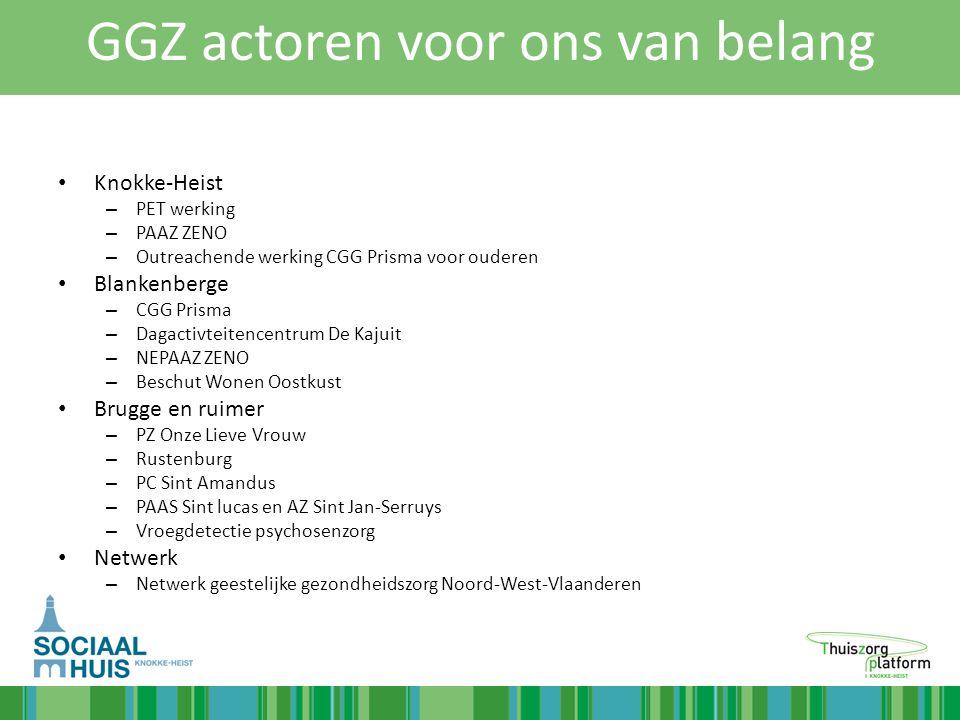 GGZ actoren voor ons van belang Knokke-Heist – PET werking – PAAZ ZENO – Outreachende werking CGG Prisma voor ouderen Blankenberge – CGG Prisma – Daga