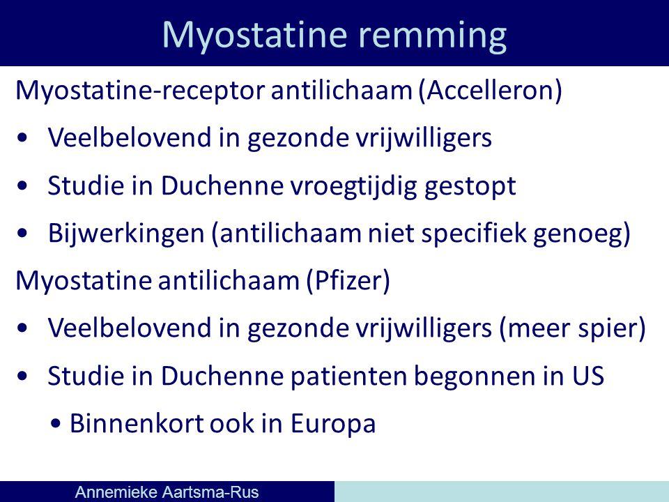 Myostatine remming Annemieke Aartsma-Rus Myostatine-receptor antilichaam (Accelleron) Veelbelovend in gezonde vrijwilligers Studie in Duchenne vroegtijdig gestopt Bijwerkingen (antilichaam niet specifiek genoeg) Myostatine antilichaam (Pfizer) Veelbelovend in gezonde vrijwilligers (meer spier) Studie in Duchenne patienten begonnen in US Binnenkort ook in Europa