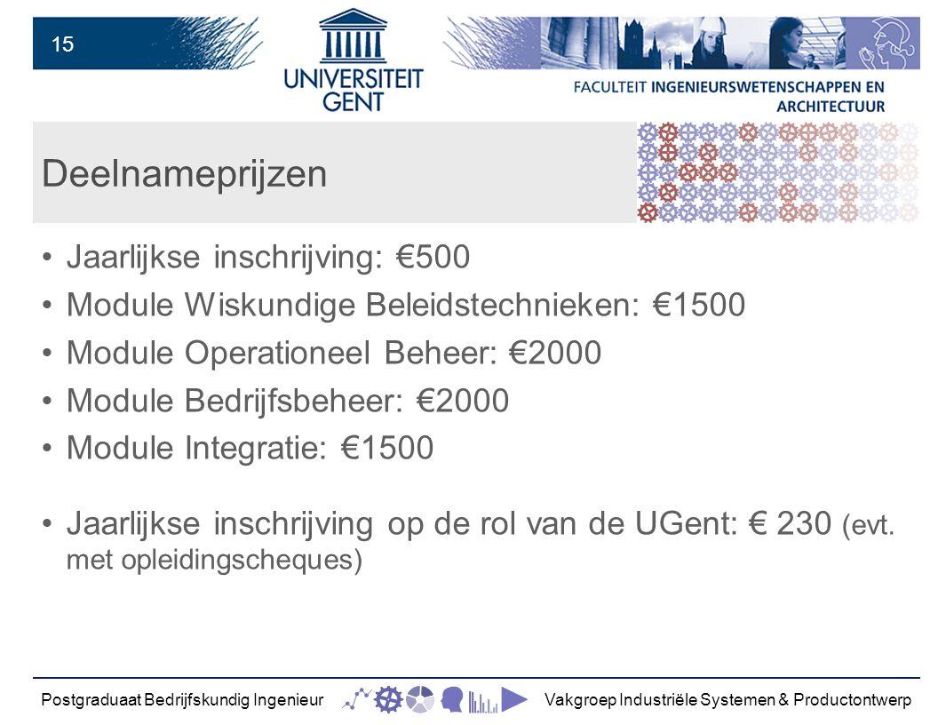 15 Deelnameprijzen Jaarlijkse inschrijving: €500 Module Wiskundige Beleidstechnieken: €1500 Module Operationeel Beheer: €2000 Module Bedrijfsbeheer: €2000 Module Integratie: €1500 Jaarlijkse inschrijving op de rol van de UGent: € 230 (evt.