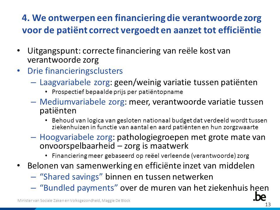 Minister van Sociale Zaken en Volksgezondheid, Maggie De Block 4. We ontwerpen een financiering die verantwoorde zorg voor de patiënt correct vergoedt
