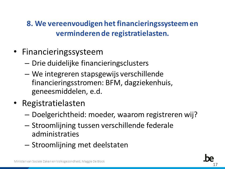 Minister van Sociale Zaken en Volksgezondheid, Maggie De Block 8. We vereenvoudigen het financieringssysteem en verminderen de registratielasten. Fina