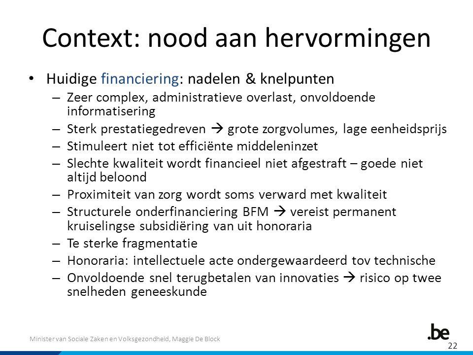 Minister van Sociale Zaken en Volksgezondheid, Maggie De Block Context: nood aan hervormingen Huidige financiering: nadelen & knelpunten – Zeer comple