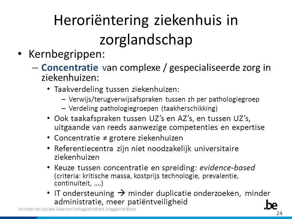 Minister van Sociale Zaken en Volksgezondheid, Maggie De Block Heroriëntering ziekenhuis in zorglandschap Kernbegrippen: – Concentratie van complexe /