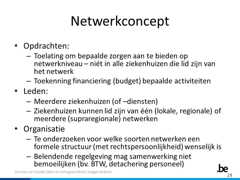 Minister van Sociale Zaken en Volksgezondheid, Maggie De Block Netwerkconcept Opdrachten: – Toelating om bepaalde zorgen aan te bieden op netwerknivea