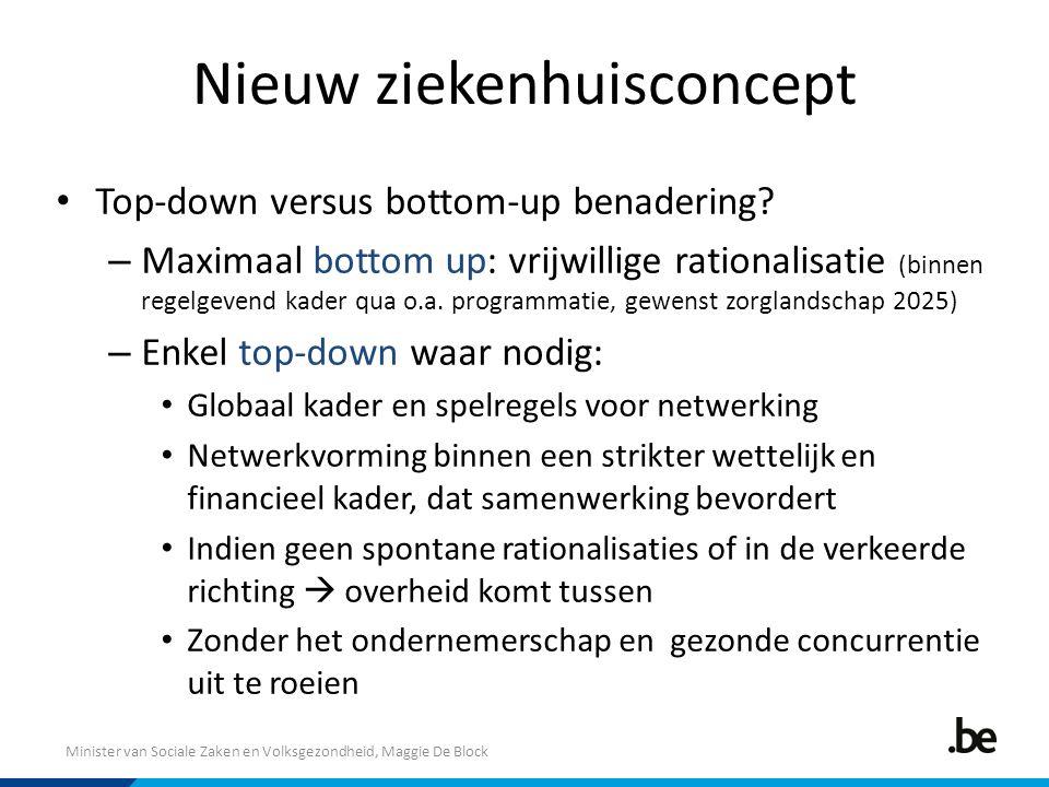 Minister van Sociale Zaken en Volksgezondheid, Maggie De Block Nieuw ziekenhuisconcept Top-down versus bottom-up benadering? – Maximaal bottom up: vri