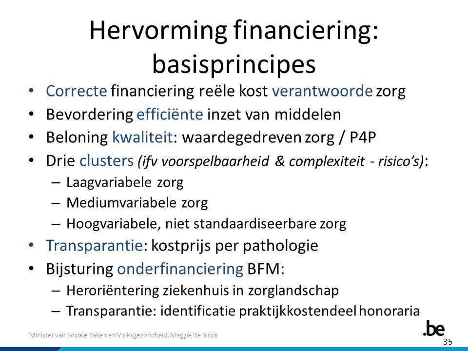 Minister van Sociale Zaken en Volksgezondheid, Maggie De Block Hervorming financiering: basisprincipes Correcte financiering reële kost verantwoorde z