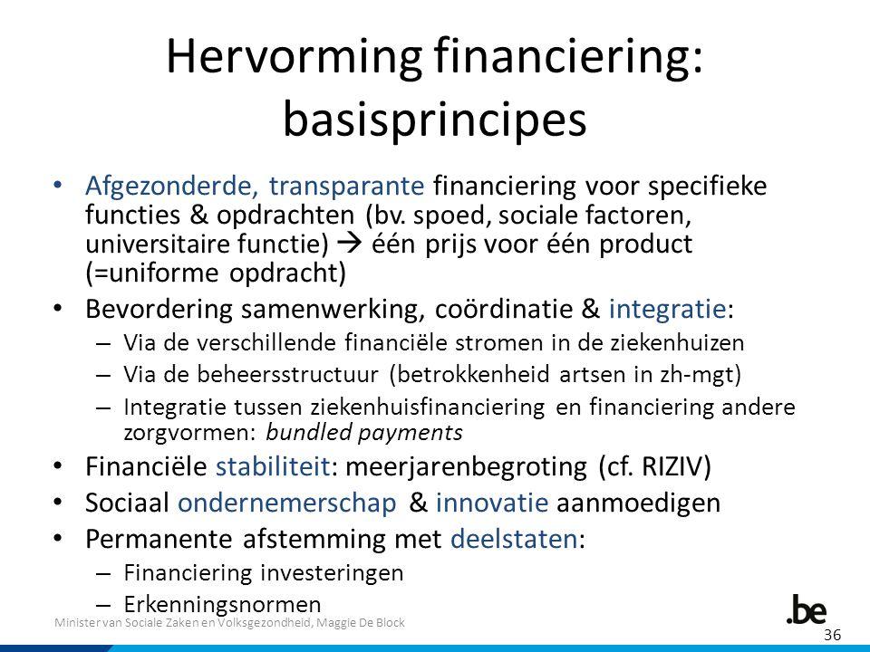 Minister van Sociale Zaken en Volksgezondheid, Maggie De Block Hervorming financiering: basisprincipes Afgezonderde, transparante financiering voor specifieke functies & opdrachten (bv.