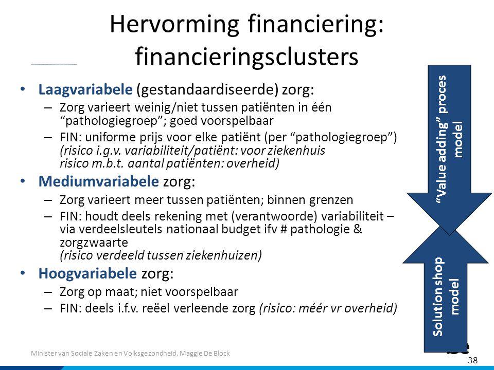 Minister van Sociale Zaken en Volksgezondheid, Maggie De Block Hervorming financiering: financieringsclusters Laagvariabele (gestandaardiseerde) zorg: