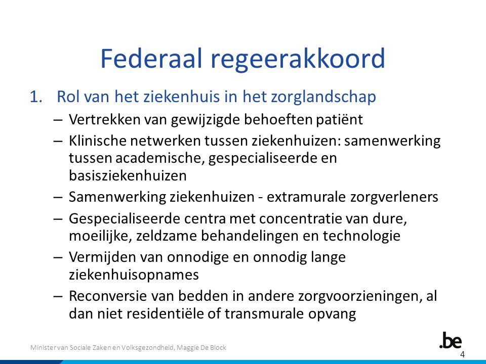 Minister van Sociale Zaken en Volksgezondheid, Maggie De Block Federaal regeerakkoord 1.Rol van het ziekenhuis in het zorglandschap – Vertrekken van g