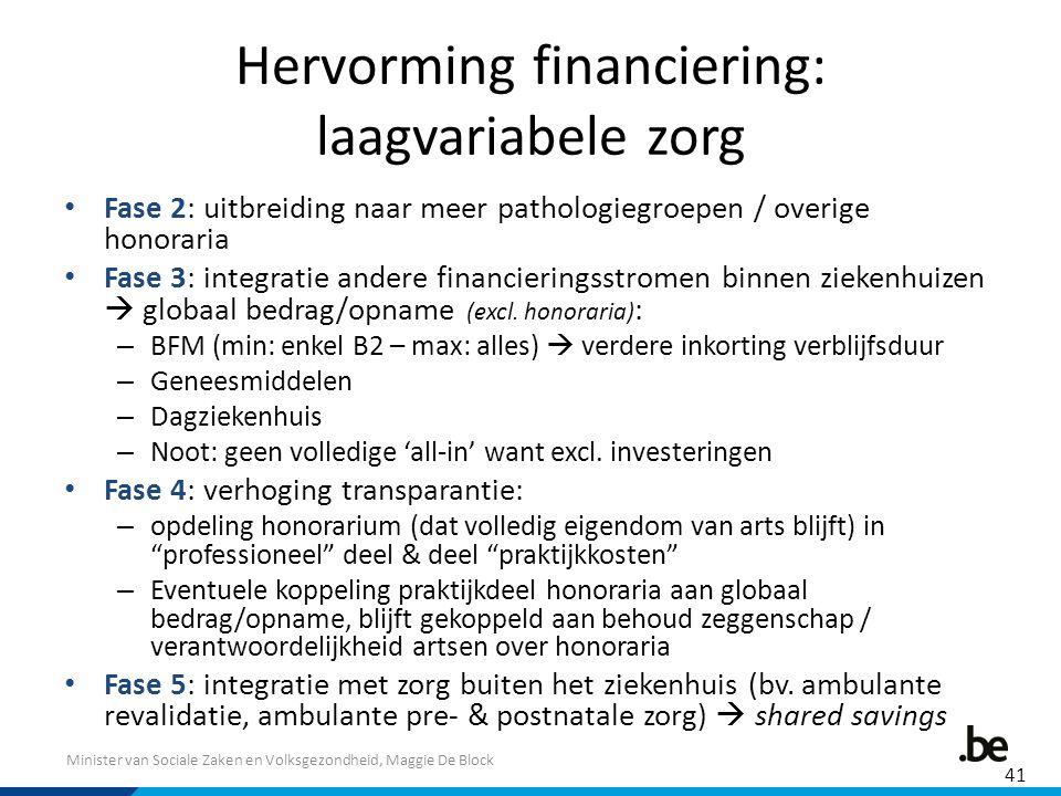 Minister van Sociale Zaken en Volksgezondheid, Maggie De Block Hervorming financiering: laagvariabele zorg Fase 2: uitbreiding naar meer pathologiegro