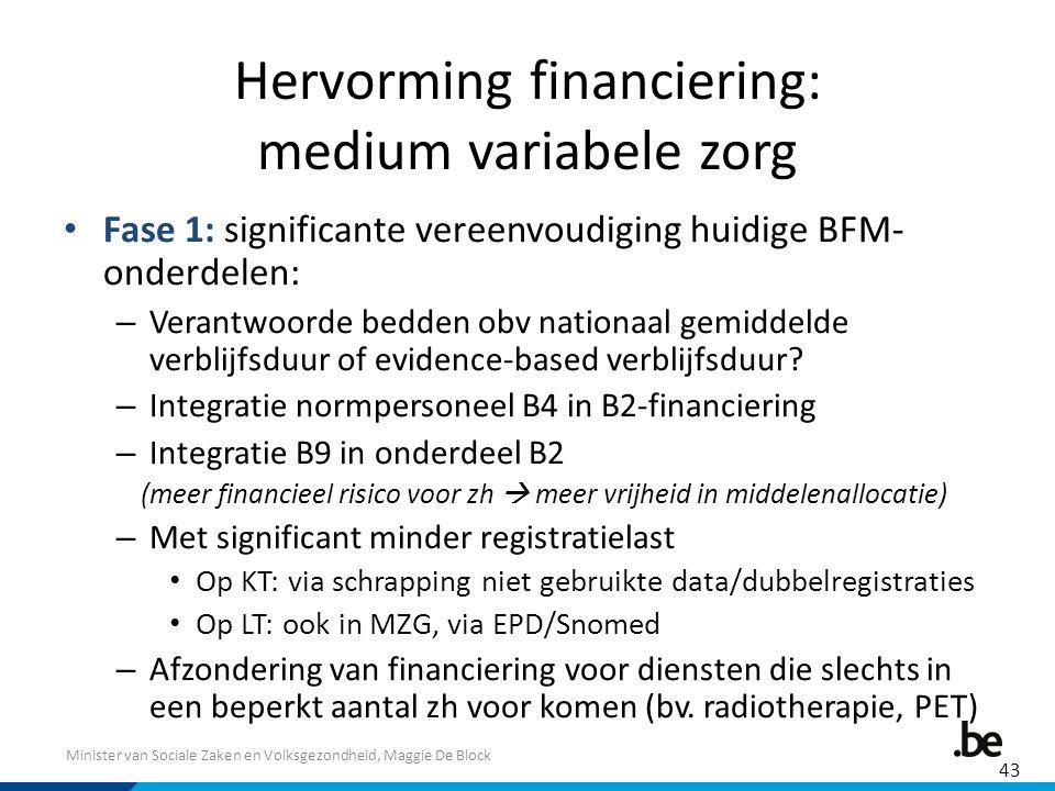 Minister van Sociale Zaken en Volksgezondheid, Maggie De Block Hervorming financiering: medium variabele zorg Fase 1: significante vereenvoudiging hui