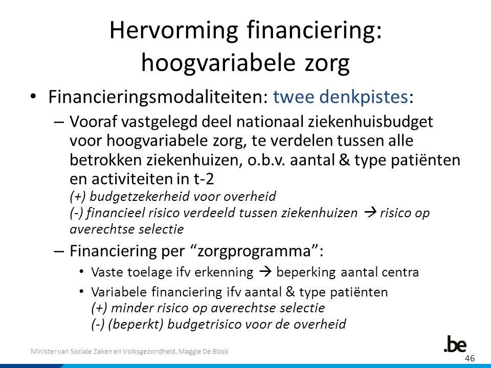 Minister van Sociale Zaken en Volksgezondheid, Maggie De Block Hervorming financiering: hoogvariabele zorg Financieringsmodaliteiten: twee denkpistes:
