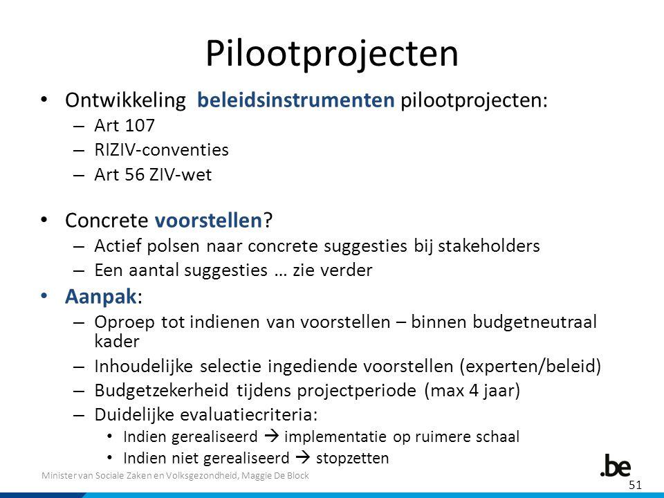 Minister van Sociale Zaken en Volksgezondheid, Maggie De Block Pilootprojecten Ontwikkeling beleidsinstrumenten pilootprojecten: – Art 107 – RIZIV-conventies – Art 56 ZIV-wet Concrete voorstellen.