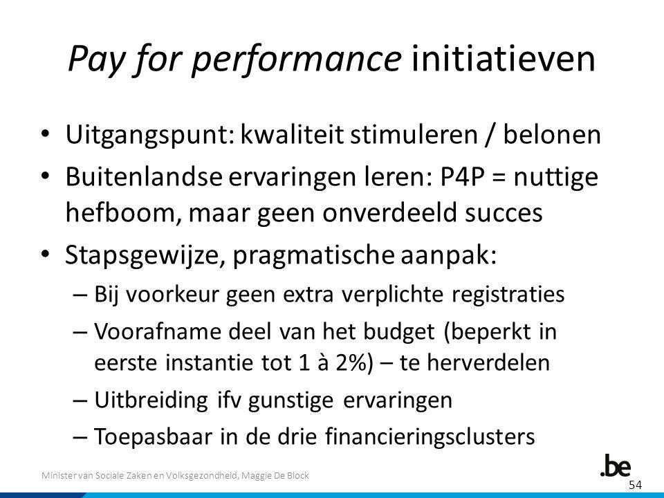 Minister van Sociale Zaken en Volksgezondheid, Maggie De Block Pay for performance initiatieven Uitgangspunt: kwaliteit stimuleren / belonen Buitenlandse ervaringen leren: P4P = nuttige hefboom, maar geen onverdeeld succes Stapsgewijze, pragmatische aanpak: – Bij voorkeur geen extra verplichte registraties – Voorafname deel van het budget (beperkt in eerste instantie tot 1 à 2%) – te herverdelen – Uitbreiding ifv gunstige ervaringen – Toepasbaar in de drie financieringsclusters 54