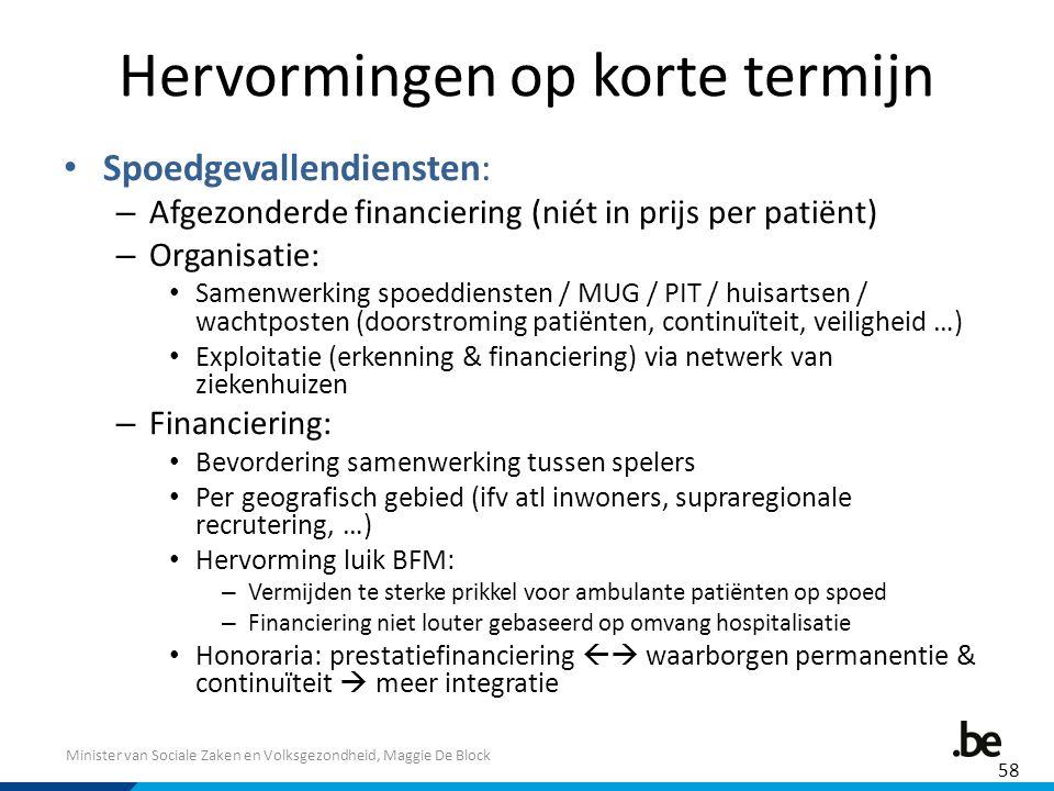 Minister van Sociale Zaken en Volksgezondheid, Maggie De Block Hervormingen op korte termijn Spoedgevallendiensten: – Afgezonderde financiering (niét