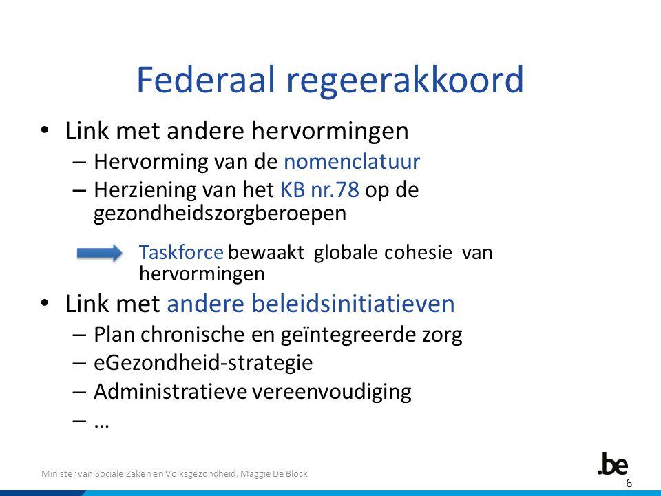 Minister van Sociale Zaken en Volksgezondheid, Maggie De Block Federaal regeerakkoord Link met andere hervormingen – Hervorming van de nomenclatuur –