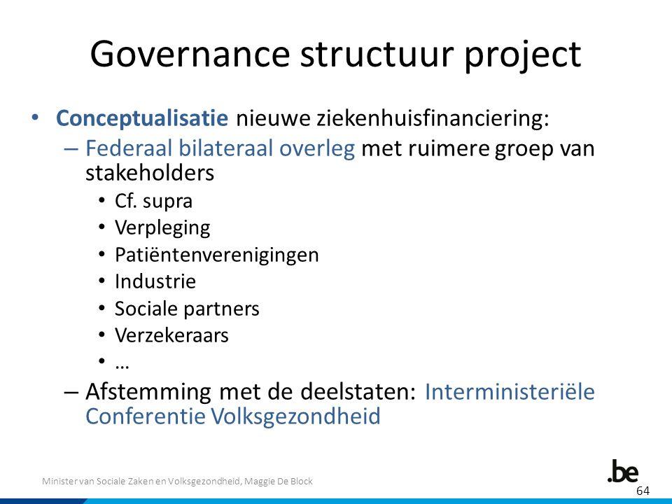 Minister van Sociale Zaken en Volksgezondheid, Maggie De Block Governance structuur project Conceptualisatie nieuwe ziekenhuisfinanciering: – Federaal
