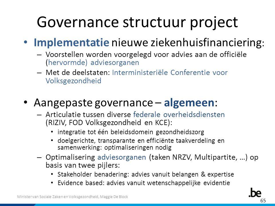 Minister van Sociale Zaken en Volksgezondheid, Maggie De Block Governance structuur project Implementatie nieuwe ziekenhuisfinanciering : – Voorstelle