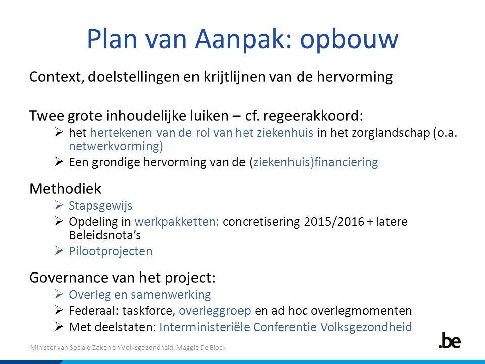 Minister van Sociale Zaken en Volksgezondheid, Maggie De Block Plan van Aanpak: opbouw Context, doelstellingen en krijtlijnen van de hervorming Twee grote inhoudelijke luiken – cf.
