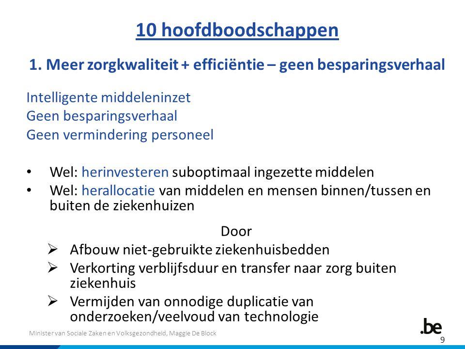 Minister van Sociale Zaken en Volksgezondheid, Maggie De Block 10 hoofdboodschappen 1. Meer zorgkwaliteit + efficiëntie – geen besparingsverhaal Intel